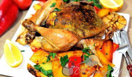 Сочный цыпленок фаршированный зеленью