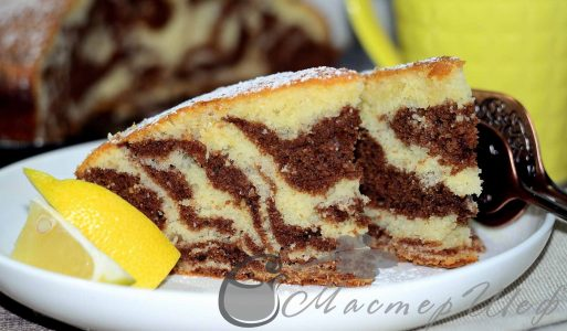 Лимонно-шоколадный пирог под «зебру»