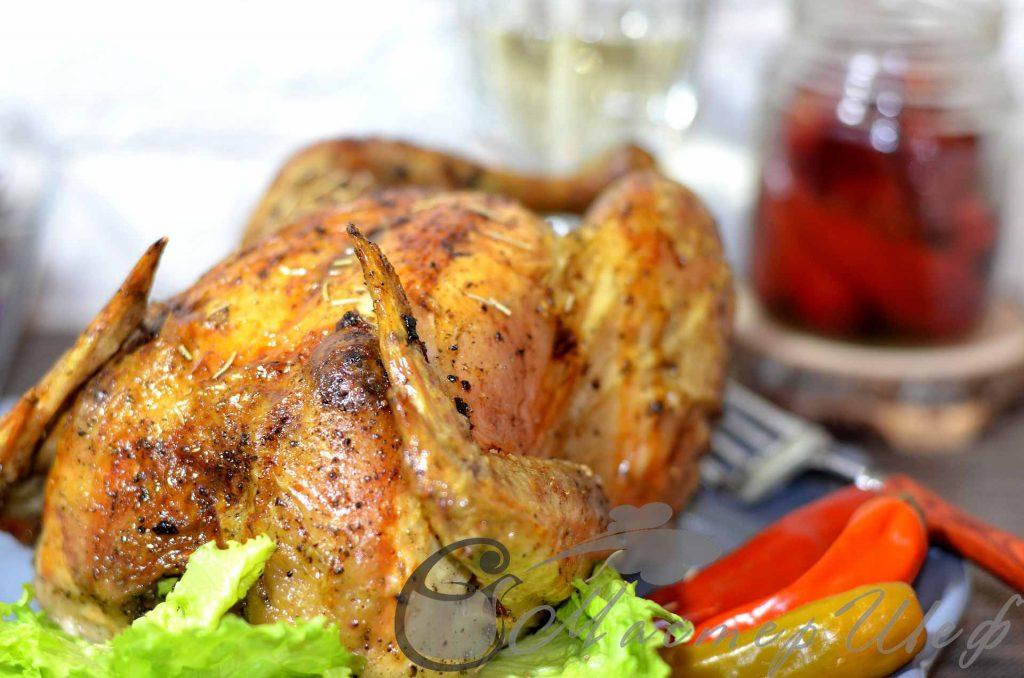 Цыпленок в вине с чесноком