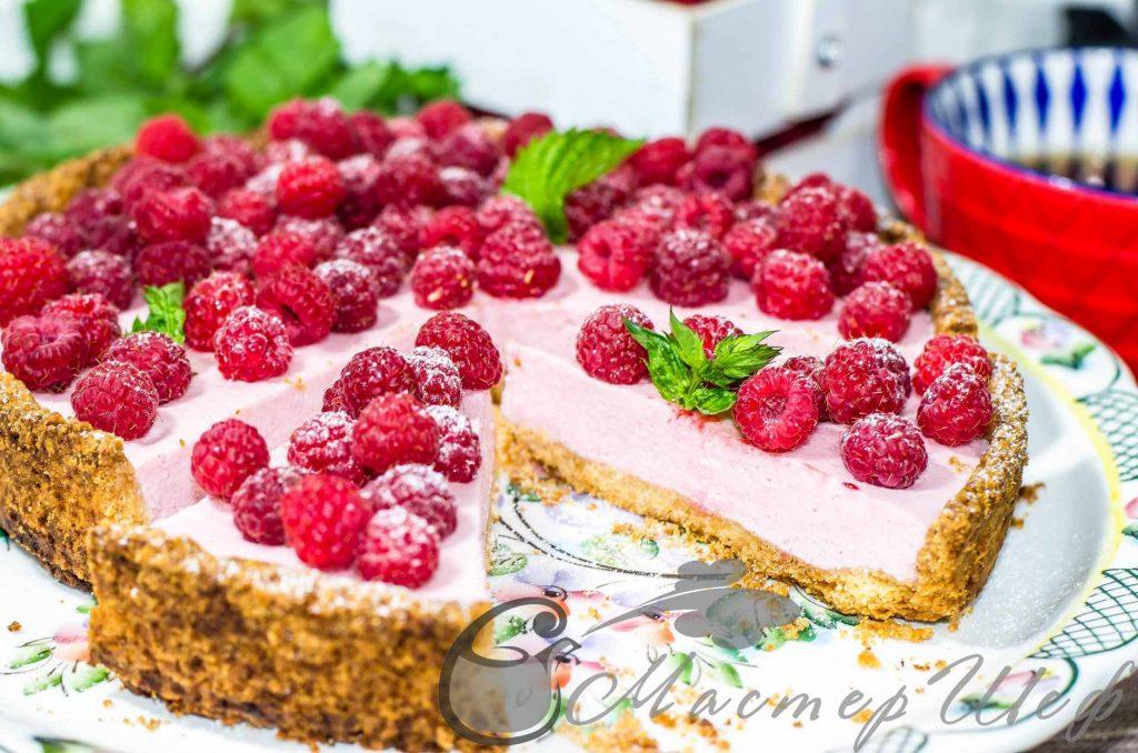 Творожно-малиновый пирог