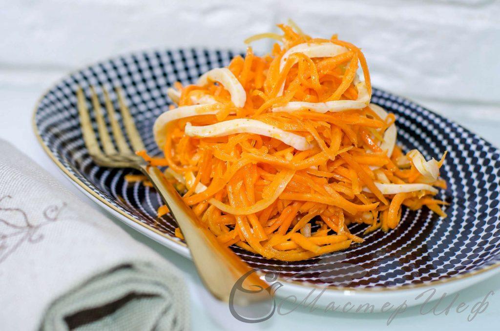 Морковный салат по-корейски с кальмарами - пошаговый рецепт