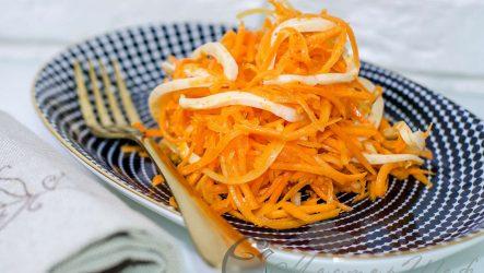 Морковный салат по-корейски с кальмарами