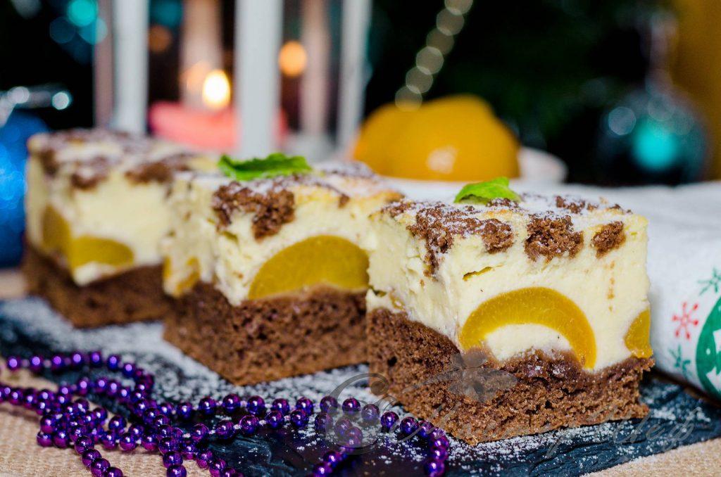 Творожно-шоколадный десерт с абрикосами - рецепт
