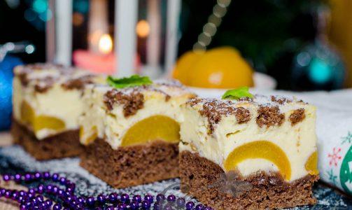 Творожно-шоколадный десерт с абрикосами