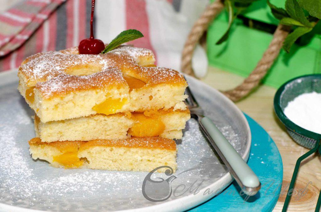 Пирог с абрикосами и персиками на скорую руку - Рецепт