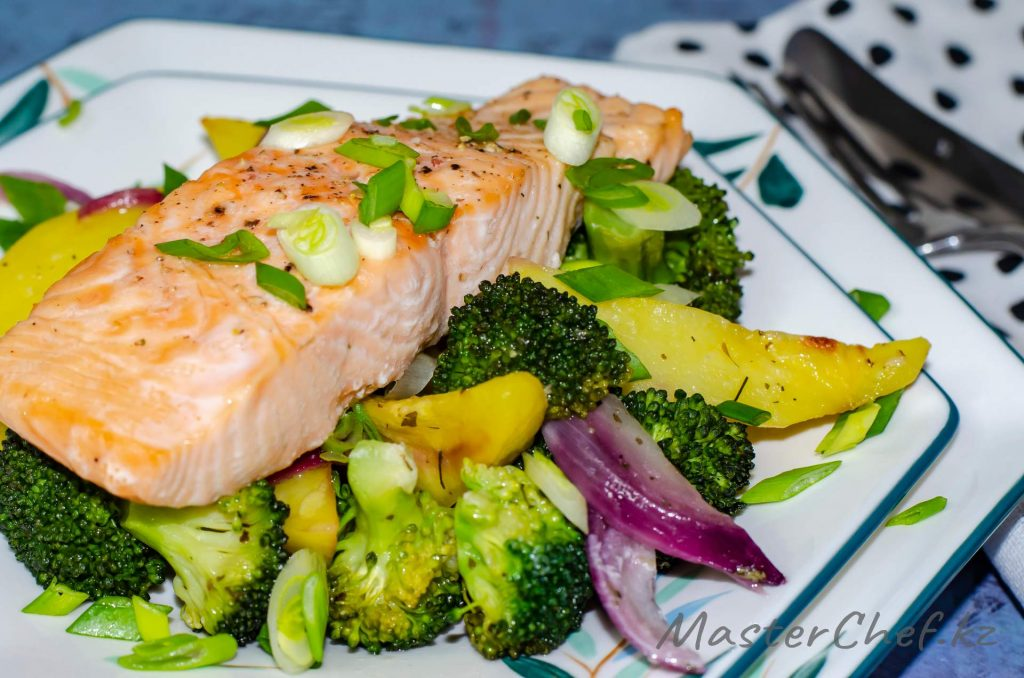 Рыба запеченная с овощами - рецепт с фото